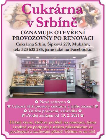 Cukrárna vSrbíně znovu otevřena