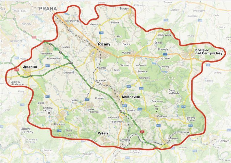 mapa distribuční oblasti Zápraží (orientační)